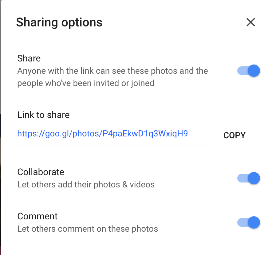 google photos sharing options