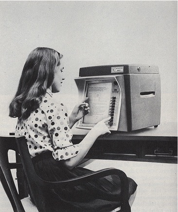 image of student working with teaching machine