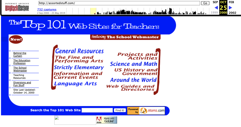 Screen shot of my website in 2000